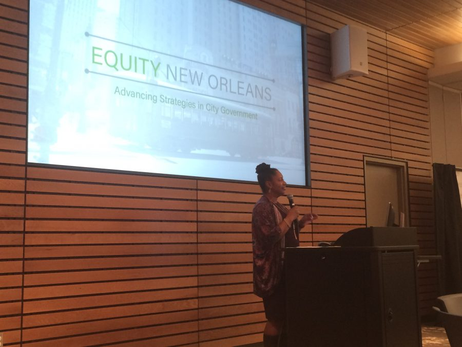 Judy Reese Morse, Deputy Mayor of Citywide Initiatives, speaks at the Equity New Orleans meeting on Tuesday, Jan. 17. The plan seeks to combat inequity in New Orleans by taking an analytic approach to decisions. Photo credit: Nick Reimann