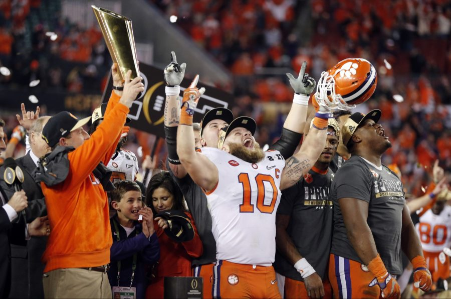 Clemson players celebrate after the NCAA college football playoff championship game against Alabama Tuesday, Jan. 10, 2017, in Tampa, Fla. Clemson won 35-31. (AP Photo/John Bazemore) Photo credit: Courtesy of AP