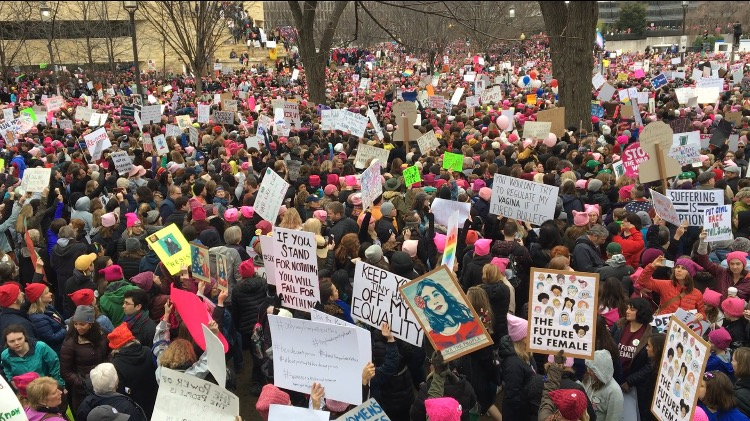 Hundreds of thousands of protesters were gridlocked in the National Mall for a few hours before finally being able to move forward. The Women's March on Washington occurred the day after President Trump's inauguration (Photo taken on Jan. 21, 2017). Photo credit: Dannielle Garcia