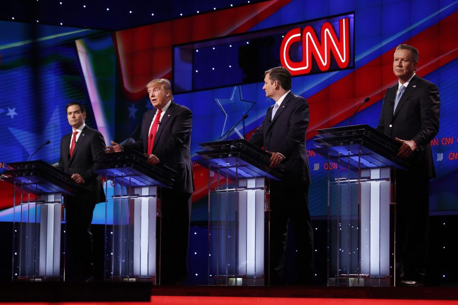 From left, Republican primary candidates Sen. Marco Rubio, Donald Trump, Ted Cruz and John Kasich during the GOP presidential primary debate at the University of Miami's Bank United Center in Coral Gables, Fla., on Thursday, March 10, 2016. (Carolyn Cole/Los Angeles Times/TNS)