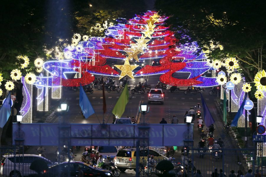 A view of the lights for the upcoming lunar new years celebration as seen from the Independence Palace, Friday, Jan. 13, 2017 in Ho Chi Minh City, Vietnam. (AP Photo/Alex Brandon, Pool)