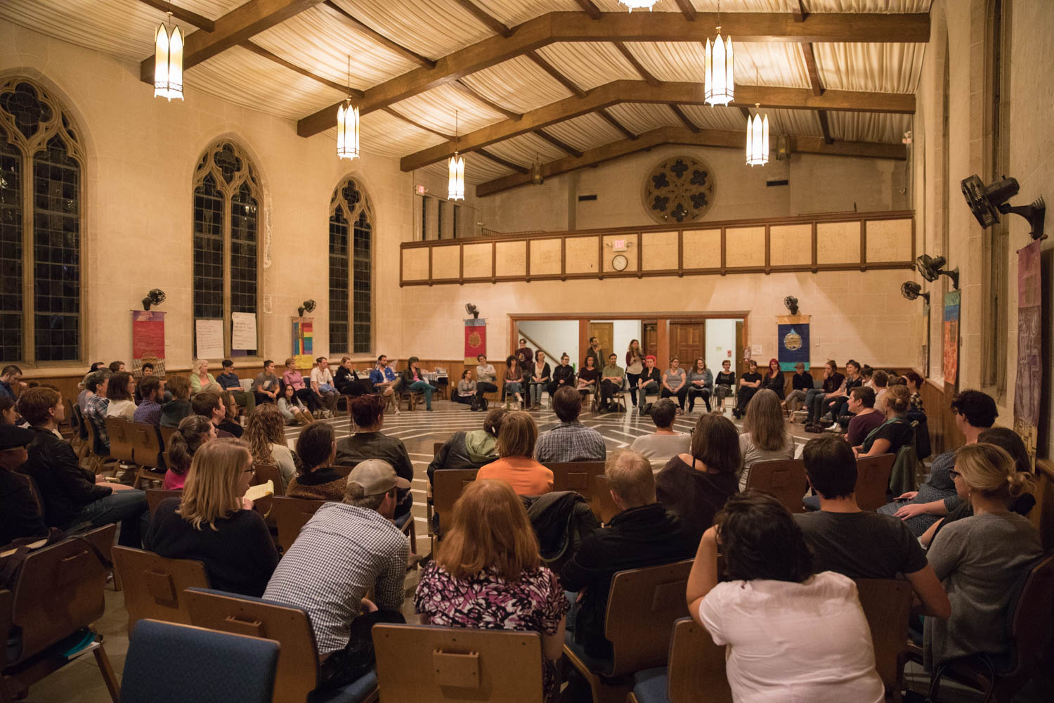 Members of the European Dissent gather and discuss social issues February 1, 2017, at the First Unitarian Universalist Church Of New Orleans, Louisiana, to network and collaborate in the pursuit of racial justice. Photo credit: Osama Ayyad