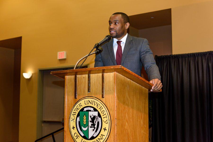 Marc Lamont Hill speaks about activism at Xavier University Feb. 2. (Photo credit: Irving Johnson III)