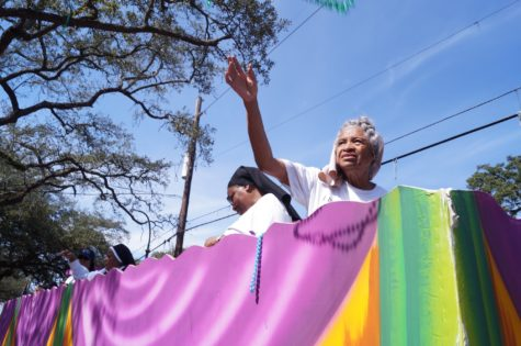 The Sisters of the Holy Family ride on their anniversary float in the Mystic Krewe of Femme Fatale on Feb. 19. Photo credit: Colleen Dulle