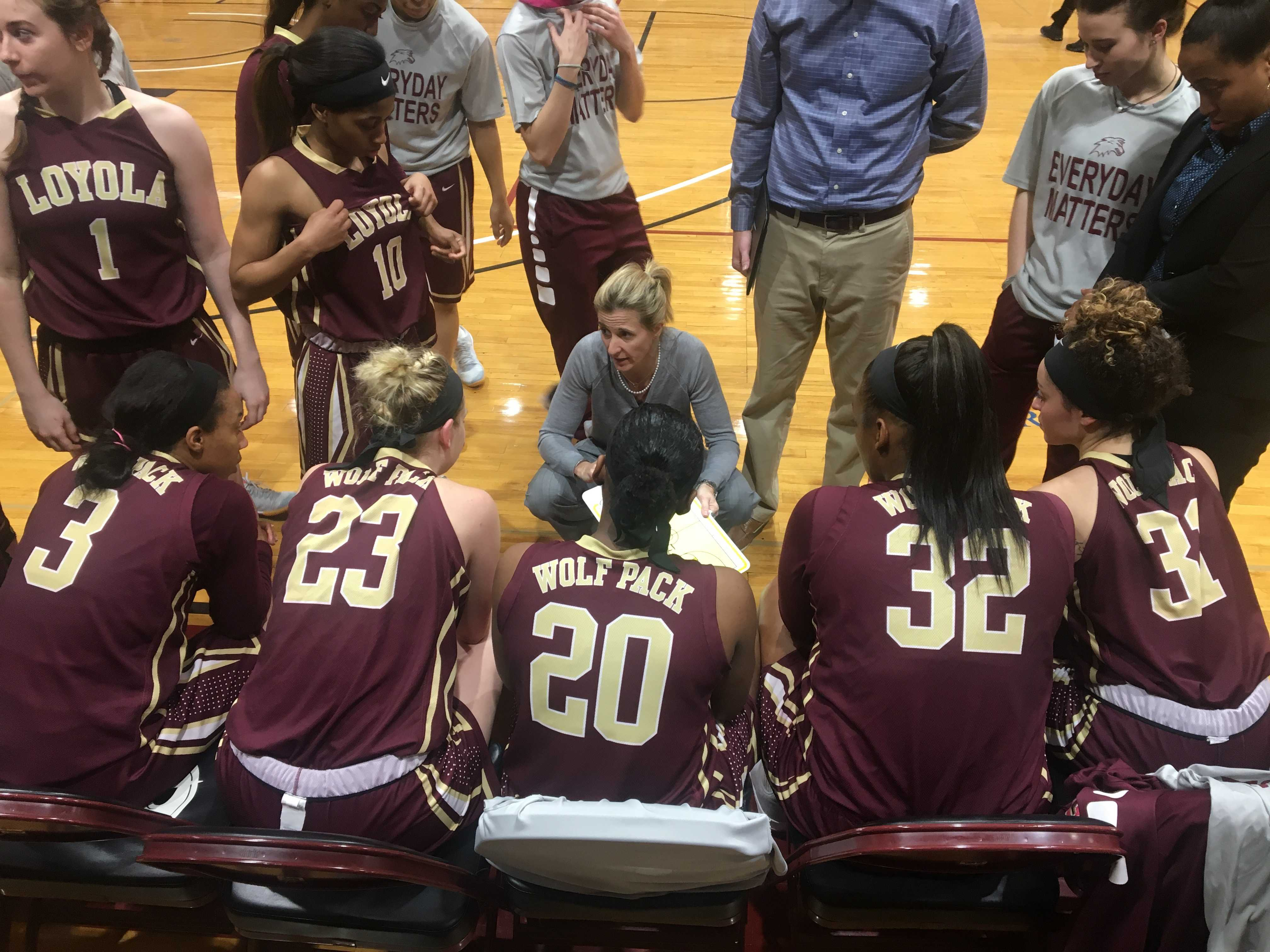 Head coach Kellie Kennedy draws up a play during their game. Kennedy won the SSAC Coach of the Year honors on Wednesday. Photo credit: Caroline Gonzalez