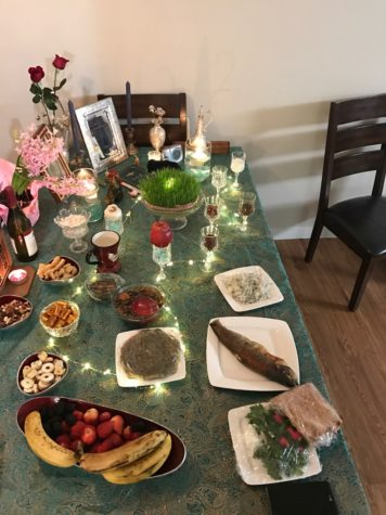 This haft-sin table, belonging to a family friend of Naasha Dotiwala, political science senior and managing editor of The Maroon, includes traditional items like fruits. Many Iranians celebrate Nowruz by laying such tables. Photo credit: Naasha Dotiwala