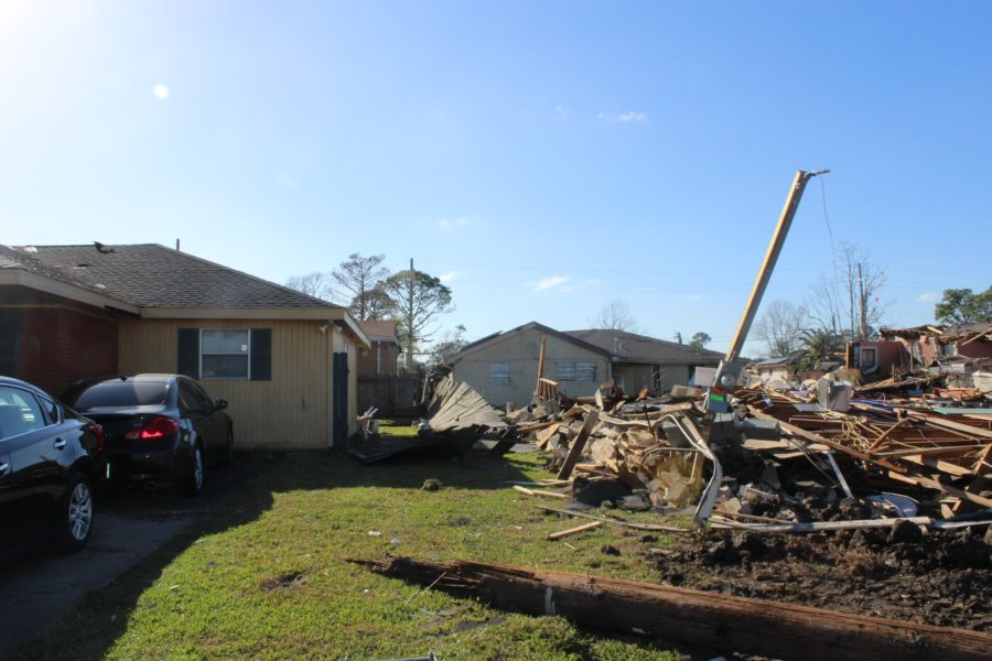 Pictured left is the home of Gason Nelson, who was inside of it as the tornado destroyed his neighbor's home. Gason was under his bed as debris came flying in through his bedroom. Photo by Anthony Alongi Feb. 9, 2017 Photo credit: Anthony Alongi