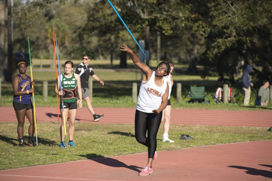 Sophomore Tiera Melancon, throws the javelin during her competition at the Tulane Twilight Invitational on March 4, 2017. Eight members of the Wolf Pack finished with personal records at the Falcon Track Classic Photo credit: Courtesy of Loyola Athletics