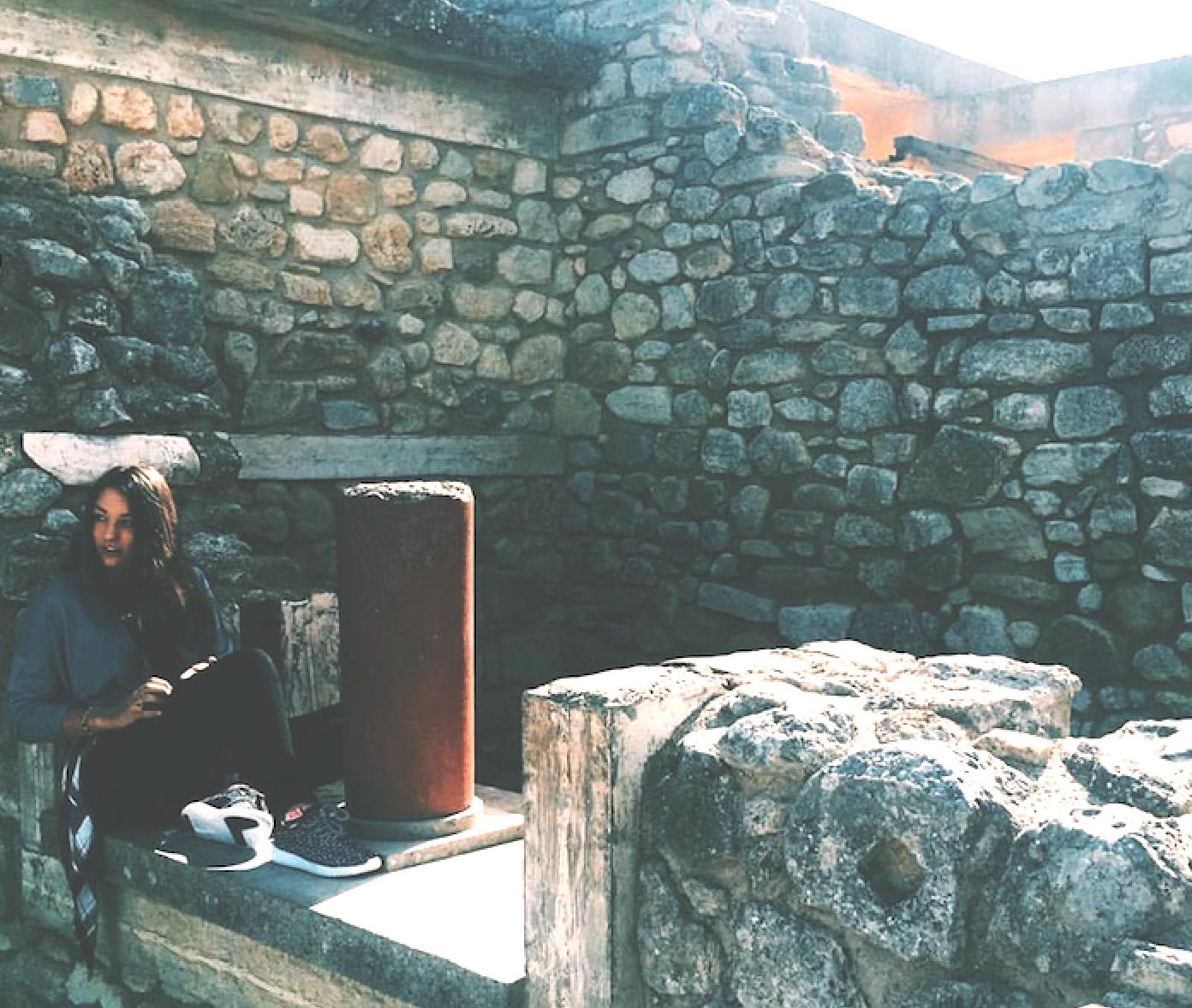 Francesca Bua, English junior, explores ruins in Crete. An avid traveler, Bua has visited 12 countries since beginning her freshman year at Loyola.  (November 2016).
