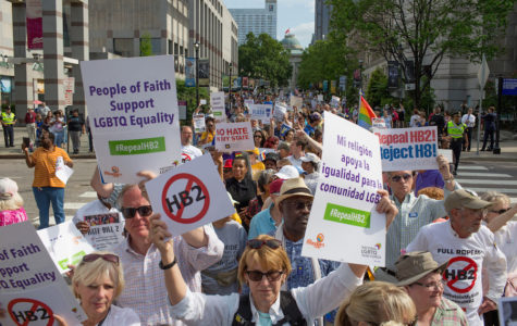 Demonstrators call for the repeal of HB2 in Raleigh, N.C., on April 25, 2016. The state marks the first anniversary the bill, widely criticized as anti-LGBT, which has cost North Carolinians jobs, money, performances and events, including this month's NCAA basketball tournament. (Jill Knight/Raleigh News & Observer/TNS)