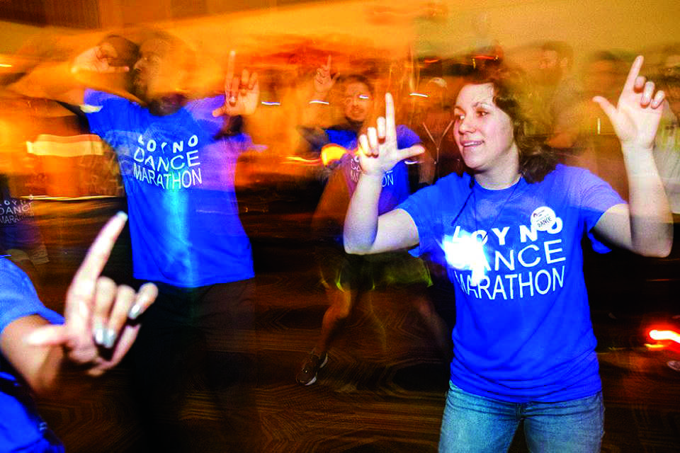 Alumna Rachel Comeaux and other students dance at last year's Dance Marathon. This year's Dance Marathon will occur April 1. Photo credit: Shea Hermann