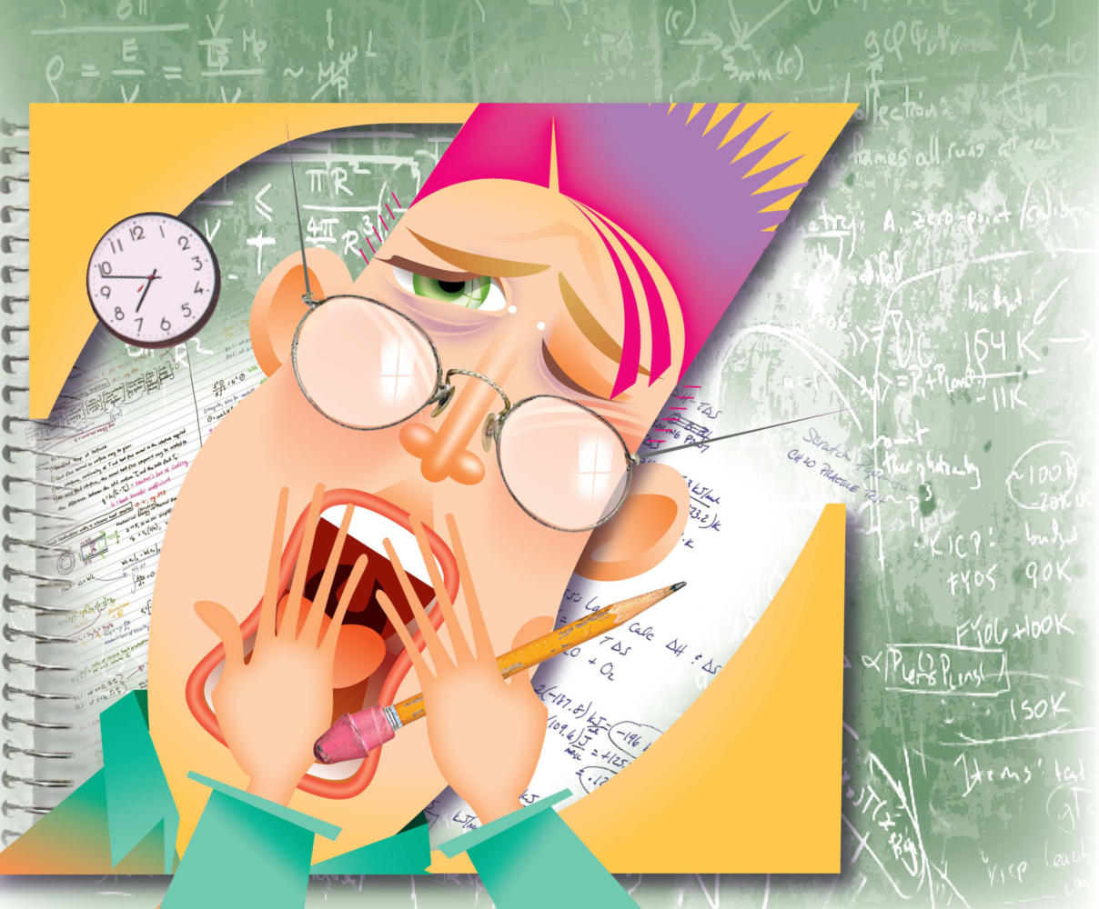 Laurie McAdam color illustration of yawning student with notebooks and chalkboard equations, tired from all night study session. The Modesto Bee 2008