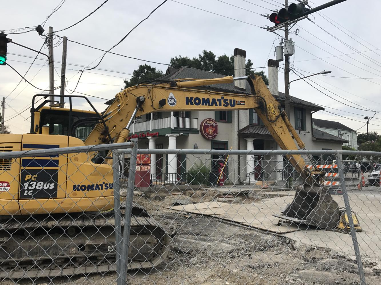Construction continues along Jefferson Avenue in Uptown New Orleans. The intersection of Jefferson Avenue and Freret Street is expected to be closed for the next three months. Photo credit: Katelyn Fecteau