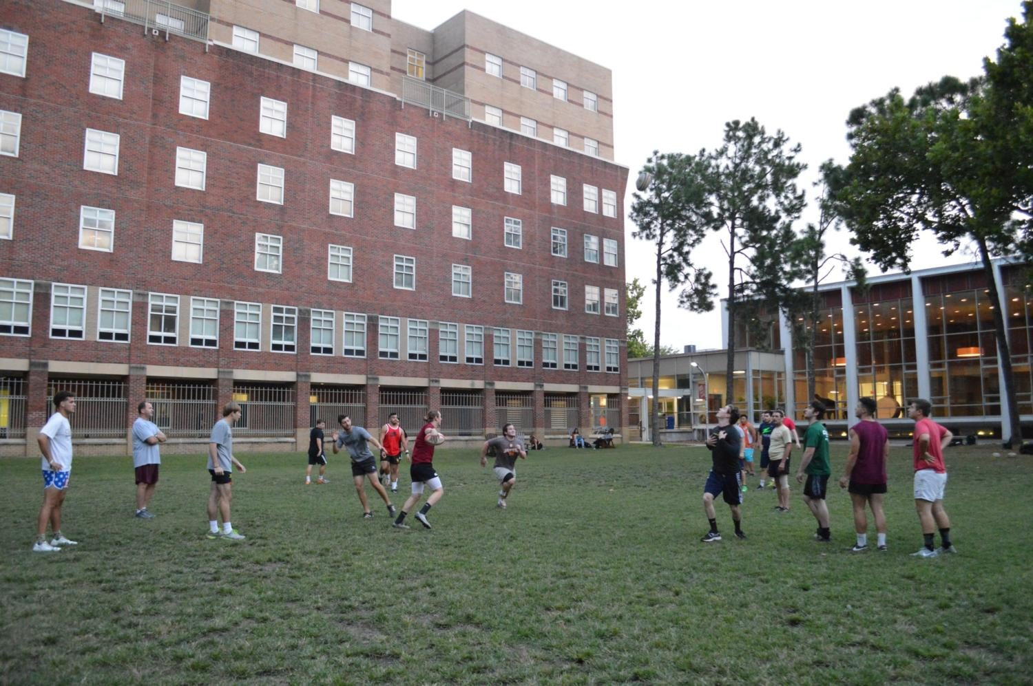 The+rugby+team+practice+in+the+Residential+Quad+on+Wednesday%2C+Sept.+6.+The+team+is+preparing+for+the+start+of+the+season+with+a+new+group+of+freshmen+on+the+team.+Photo+credit%3A+Paola+Amezquita