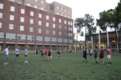 The rugby team practice in the Residential Quad on Wednesday, Sept. 6. The team is preparing for the start of the season with a new group of freshmen on the team. Photo credit: Paola Amezquita