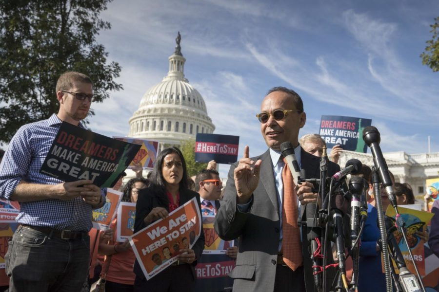 Rep. Luis Gutierrez, D-Ill., a leading advocate in the House for comprehensive immigration reform, speaks in support of people affected by the Deferred Action for Childhood Arrivals program during a rally at the Capitol in Washington, Thursday, Oct. 5, 2017. (AP Photo/J. Scott Applewhite) Photo credit: Associated Press