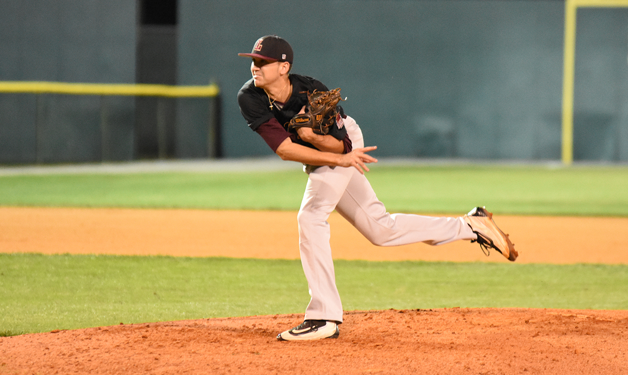 Nick Moore, Loyola New Orleans history pre-law graduate,  pitches against Middle Georgia State during a game May 3, 2017.  The Loyola New Orleans baseball team plans on hosting a fund raising event at the Rockin' Bowl bowling alley  Feb. 1 , 2018, near the corner of Earhart Boulevard and South Carrolton Avenue. Photo credit: Loyola New Orleans Athletics