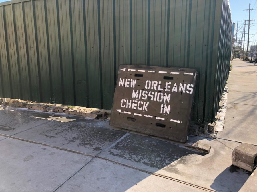 The check sits outside of the New Orleans Mission. New Orleans Mission is a faith-based homeless shelter. Photo credit: Sidney Holmes