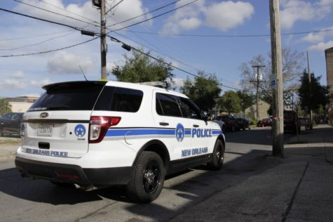 An NOPD car sits in a New Orleans neighborhood. Mayor Mitch Landrieu said at a recent press conference that violent crime in New Orleans has decreased. Photo credit: John Casey