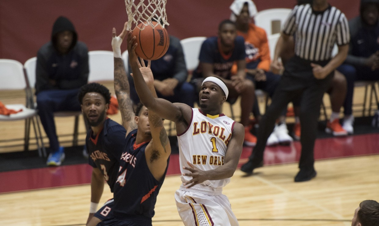 Business senior Nick Parker (1) lays up against the University of  Mobile defense on Jan. 28 2018. Parker finished with a game-high 25 points against the Rams. Photo by Loyola New Orleans Athletics/Courtesy Photo credit: Loyola New Orleans Athletics
