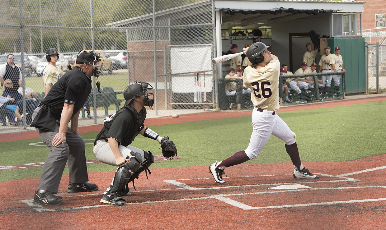Jase Griffin (26), management sophomore, takes a swing while at bat April 27, 2017, during a game against Middle Georgia State University. Griffin is among the 2018 season returning players, bringing experience to lead the Wolf Pack. LOYOLA NEW ORLEANS ATHLETICS/Courtesy Photo credit: Loyola New Orleans Athletics