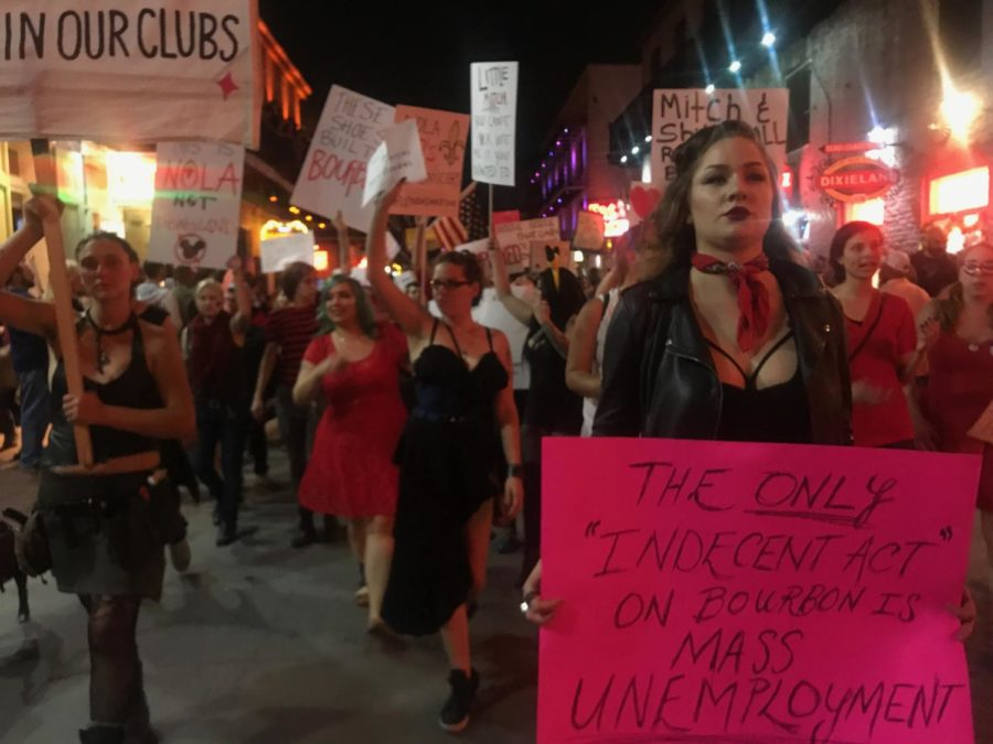 Club+workers+march+down+Bourbon+Street+Feb.+1%2C+2018%2C+in+protest+against+recent+NOPD+raids+that+they+say+caused+massive+unemployment+Photo+credit%3A+Mair%C3%A9ad+Siobh%C3%A1n