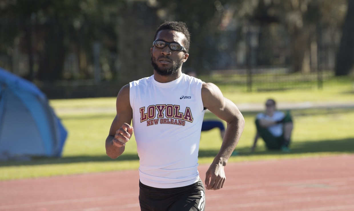 Accounting and finance junior Brian Davis competing in the Carey Last Chance Meet on Feb. 17 2018. The Loyola track teams earned two wins at the meet. LOYOLA NEW ORLEANS ATHLETICS/Courtesy