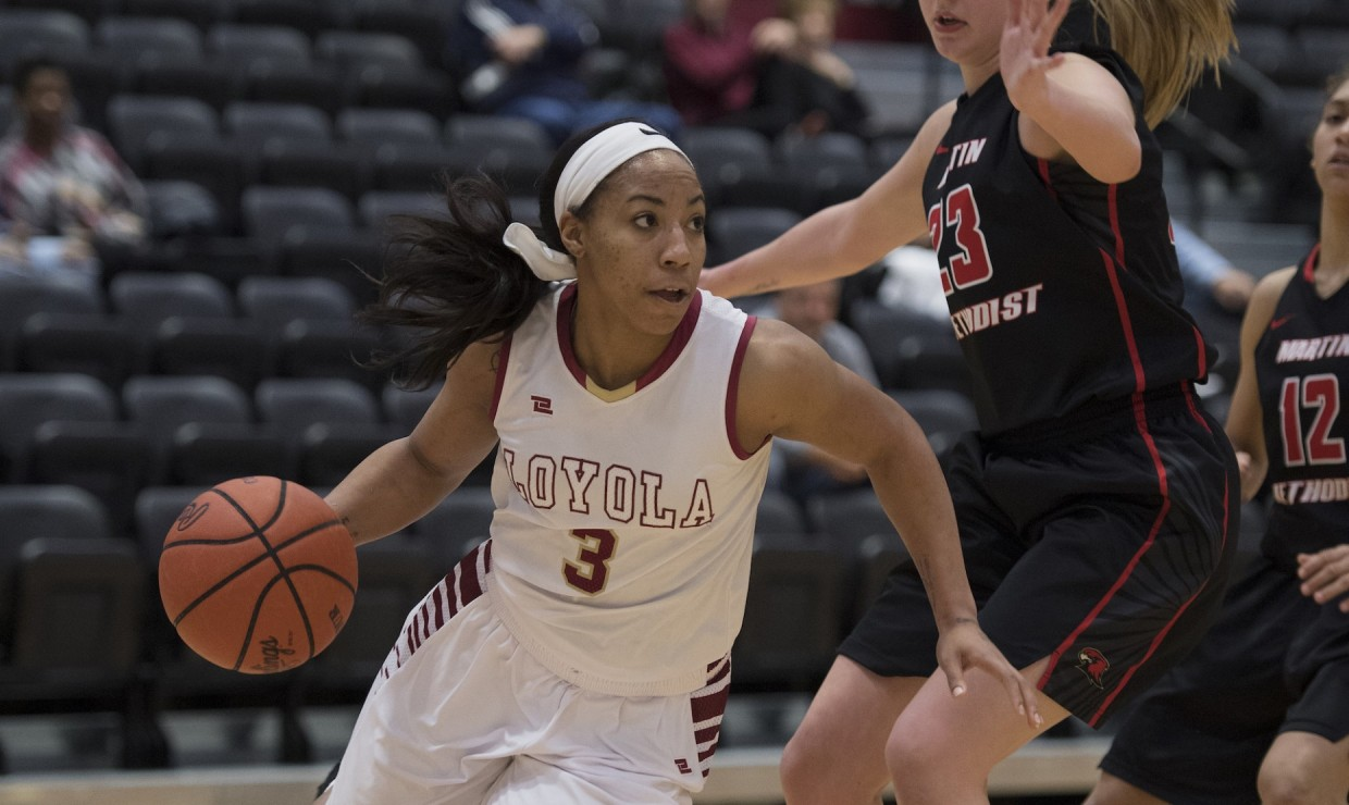 Biology senior Di'Mond Jackson (3) driving to the basket versus Martin Methodist on Feb. 8 2018. Jackson led the team in points, rebounds, and assists versus Bethel University on Feb. 10 2018. LOYOLA NEW ORLEANS ATHLETICS/Courtesy