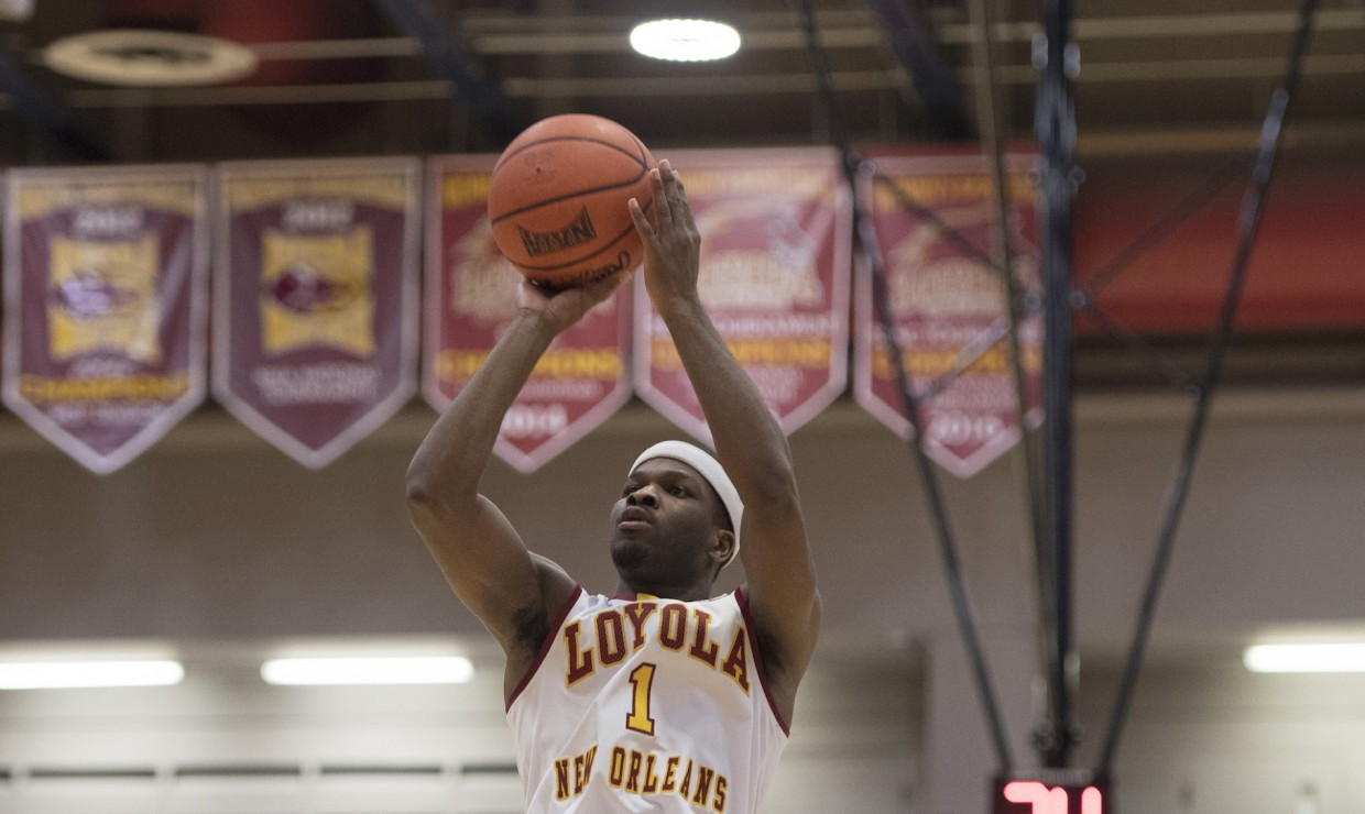 Business senior Nick Parker (1) scoring a basket versus Faulkner University. The Loyola men's basketball team lost 83-63 against the Eagles and their top-ranked defense. LOYOLA NEW ORLEANS ATHLETICS/Courtesy