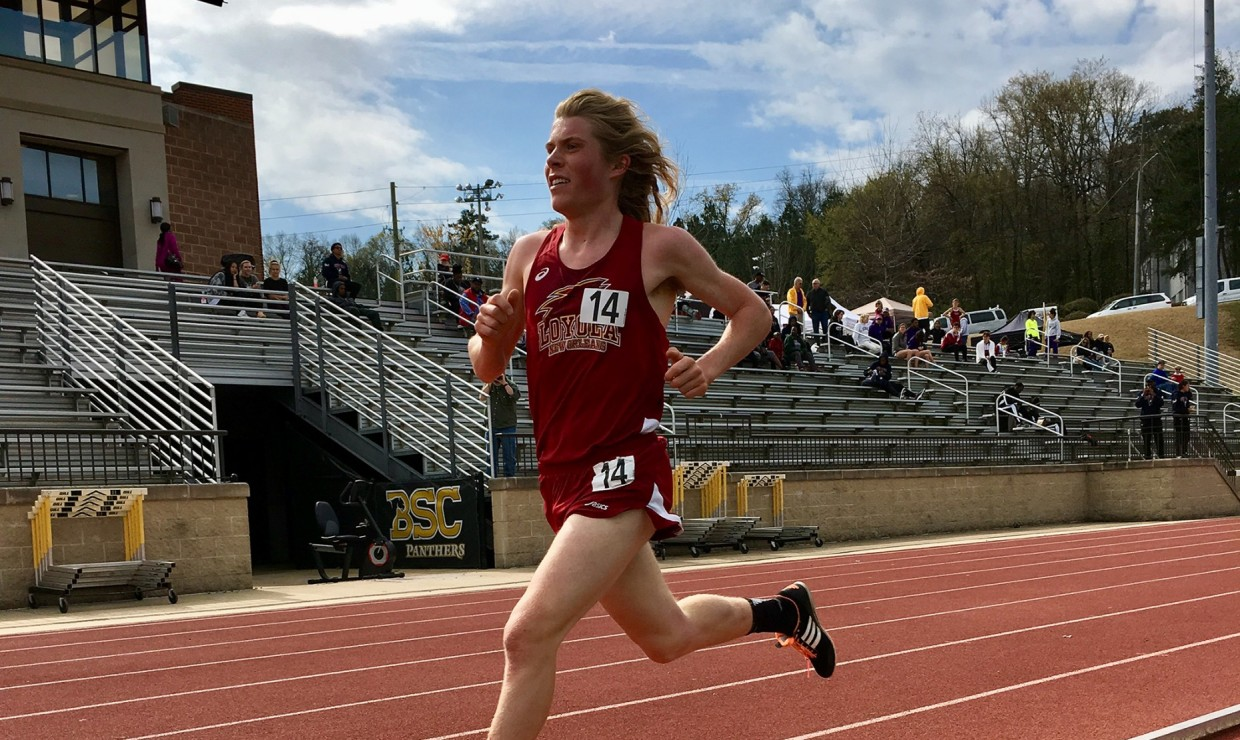 Walter Ramsey, environmental studies freshman, finished 10th overall in the 1500-meter run at the Louisiana Classics on March 17 2018. The Loyola track and field team had a remarkable showing versus NCAA DI talent. Photo credit: Loyola University Athletics