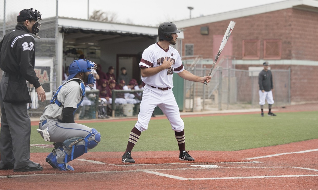 Jesse Jordan (28), finance junior, stands on home plate, ready for a pitch. The Loyola baseball team took home only one win versus Martin Methodist in their first conference match up of the season. Photo credit: Loyola University Athletics