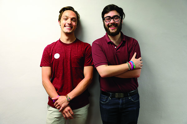 Ben Weil, right, and Blane Mader, left, pose shortly after being elected last spring. The two spent their term fulfilling six initiatives to better the Loyola community. Photo credit: The Maroon
