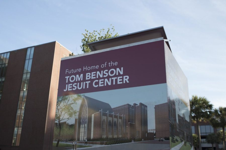 The+sign+for+the+future+site+of+Tom+Benson+Jesuit+Center+stands+between+Monroe+Hall+and+the+sculpture+garden.+CHRISTIAN+ORELLANA%2FThe+Maroon.+Photo+credit%3A+Cristian+Orellana