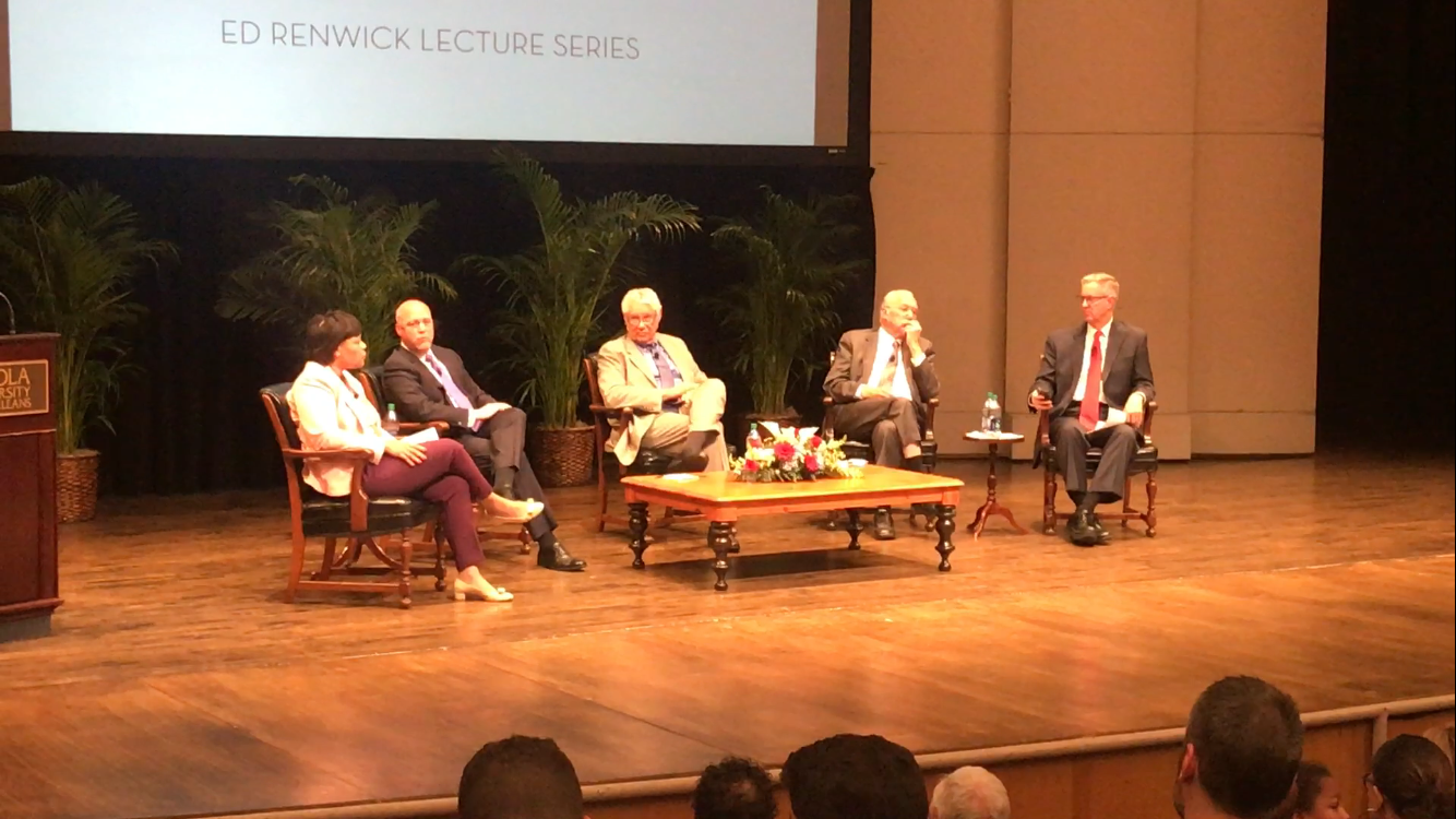 From left to right: Mayor-elect LaToya Cantrell, Mayor Mitch Landrieu, former mayor Sidney Barthelemy, former mayor Moon Landrieu and moderator Clancy DuBos in Roussel Hall Thursday, April 5, 2018, for the annual Ed Renwick Lecture Series. Photo credit: Nick Reimann