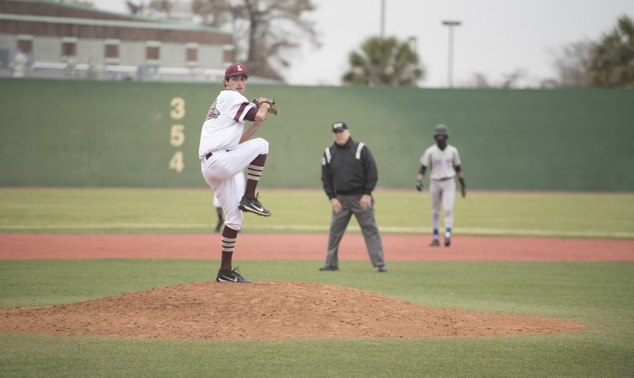 Lawrence Frishberg (26), marketing freshman, on the mound at Segnette Field versus Middle Georgia State University March 30, 2018. The baseball team dropped all three games versus the Middle Georgia Knights. Photo credit: Loyola University Athletics