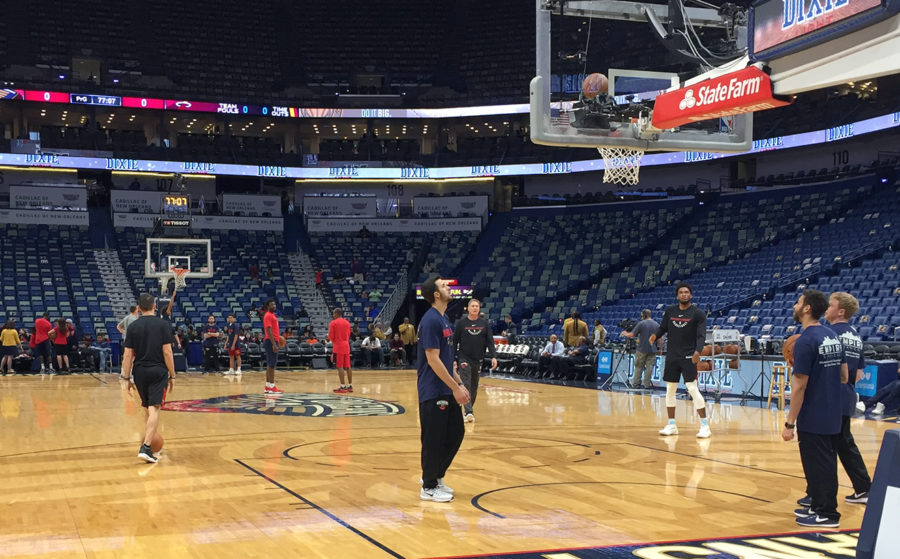 The New Orleans Pelicans warm up before facing off the Miami Heat at the Smoothie King Center Feb. 23 2018. The Pelicans are riding a sic game win streak and are now sitting as the fifth seed in the Western Conference. Photo credit: Albert Dupont