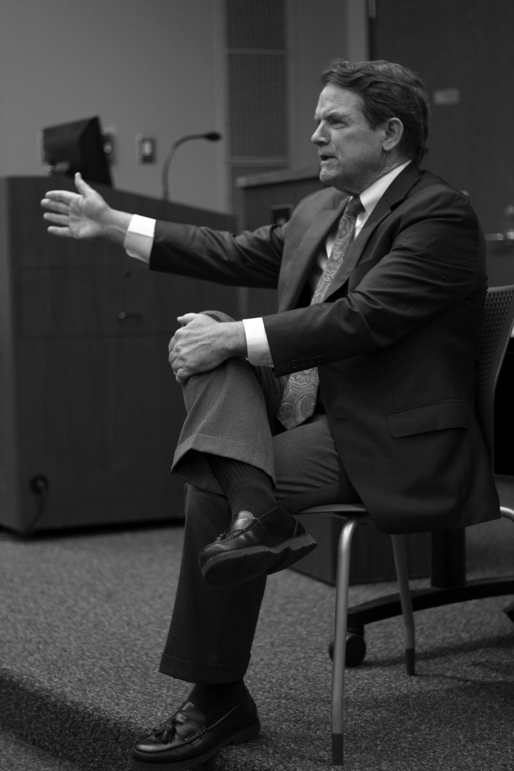 Paul Pastorek speaks to Loyola students during a town hall April 18, 2018, where Pastorek listened to and addressed the concerns of the students. Pastorek promises to have a
