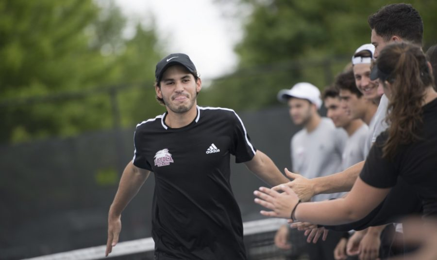 Business+senior+Ernesto+de+Diego+earned+his+second+consecutive+All-Conference+team+selection.+Both+the+men%27s+and+women%27s+Loyola+tennis+teams+lost+in+the+semifinal+round+at+the+Southern+States+Athletic+Conference+Championship+on+April+20%2C+2018.+Photo+credit%3A+Loyola+University+Athletics