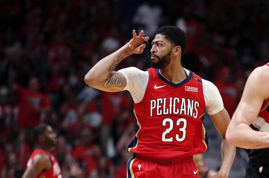 New+Orleans+Pelicans+forward+Anthony+Davis+reacts+after+making+a+3-point+shot+during+the+first+half+of+Game+4+of+the+team%27s+first-round+NBA+basketball+playoff+series+against+the+Portland+Trail+Blazers+in+New+Orleans%2C+Saturday%2C+April+21%2C+2018.+%28AP+Photo%2FScott+Threlkeld%29