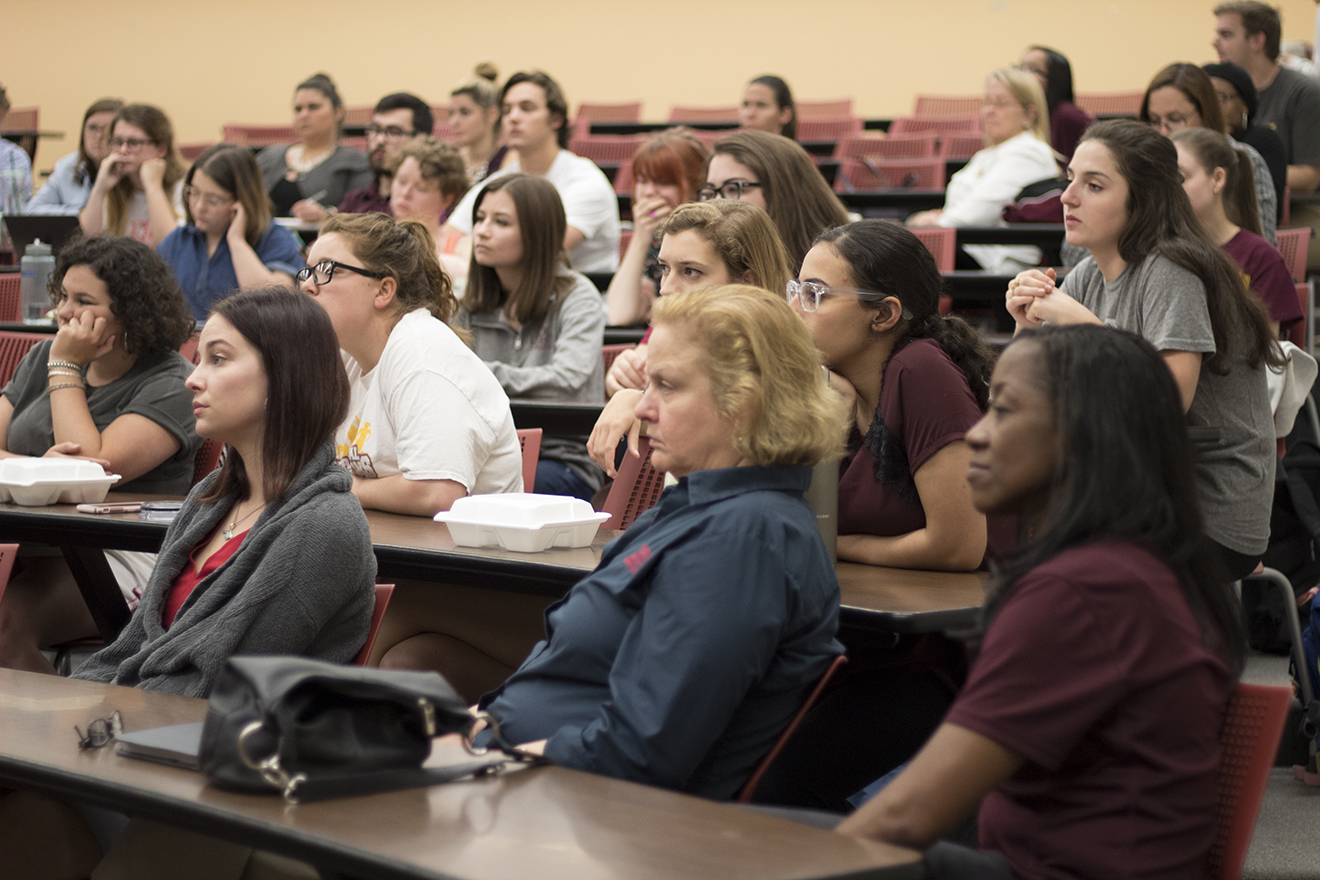 Students and faculty actively engage in the town hall discussion about the current state of Loyola on April 18, 2018 in Miller 114.  Students received reassuring answers to their questions from Paul Pastorek, acting chief operating officer. Photo credit: Cristian Orellana