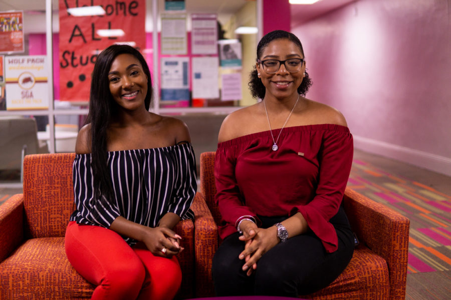 Sierra Ambrose and Joann Cassama pose after their swearing-in at the SGA office. Cassama (Vice President) and Ambrose (President) look forward to serving the Loyola Community for the next year. Photo credit: Jacob Meyer
