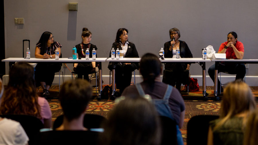 Women+from+the+Houma+and+Lakota+nations+share+their+knowledge+of+how+their+communities+have+been+treated+by+the+U.S.+Government+both+historically+and+currently+at+the+Perspectives+of+Indigenous+Women+panel.+The+panel+was+held+by+Students+Against+Sexual+Assault+and+the+Women%E2%80%99s+Resource+Center+and+funded+by+the+Diversity+and+Inclusion+Committee.+Photo+credit%3A+Jacob+Meyer