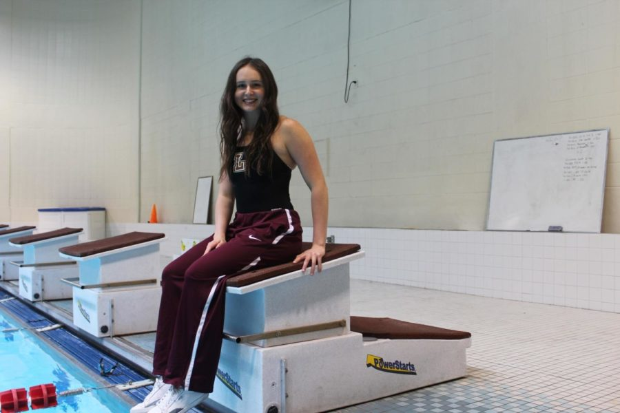 Paige Carter, mass communication sophomore, represents the Wolf Pack in swimming. The Florida native is part of the team that captured sixth place at the National Association of Intercollegiate Athletics national Champions. Photo credit: Catie Sanders