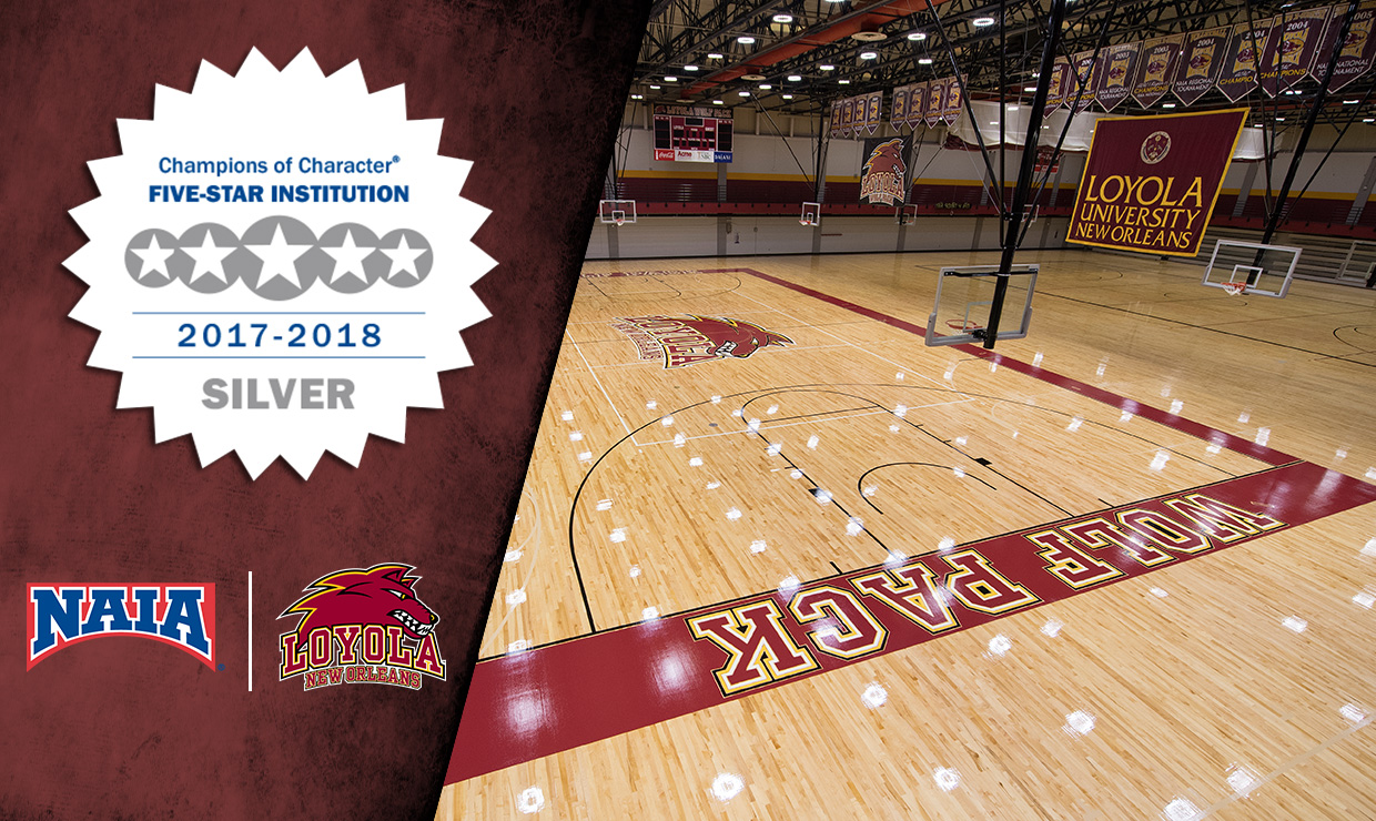 Loyola was named a National Association of Intercollegiate Athletics Champion of Character Five-Star Institution for the tenth year in a row. For the 2016-2017 athletic year Loyola was in the gold category, where as this year the school was named to the silver category. Photo credit: Loyola New Orleans Athletics