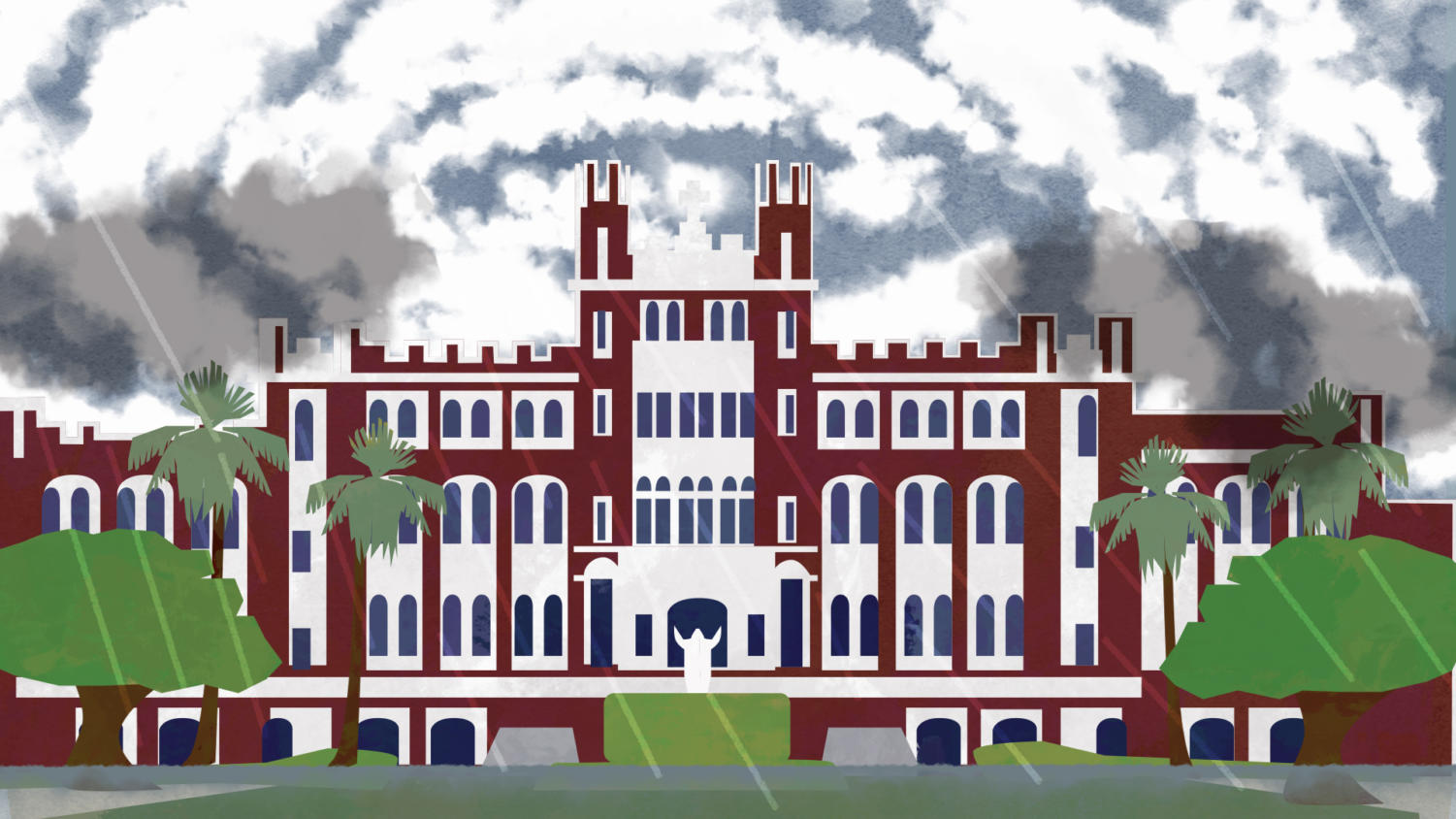 This is a n Illustration of Marquette Hall facing down a storm. President Tetlow sent out an email addressing both the hurricane in Hawaii and the anniversary of Hurricane Katrina. Photo credit: Ariel Landry