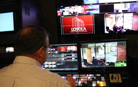 Professor Dupont works in the new SMC Producer Lab. Students interested in broadcast will be working with the new equipment. Photo credit: Sidney Ovrom