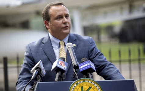 Kenner Mayor Ben Zahn rescinds his order banning the city's recreation department from purchasing Nike products for use at city recreation facilities, during a news conference, Wednesday, Sept. 12, 2018, at Veteran's Park in Kenner, La. (Scott Threlkeld/The Advocate via AP)