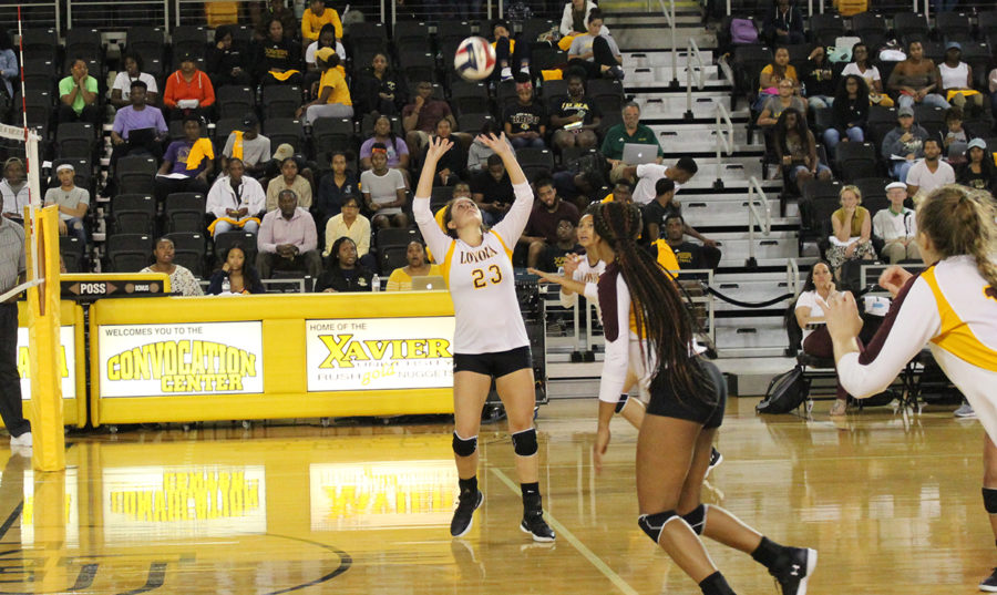 Education+senior+Maddie+Huekels+sets+up+for+a+possible+kill.+Huekels+was+named+Southern+States+Athletic+Conference+Setter+of+the+Week.+Photo+credit%3A+Loyola+New+Orleans+Athletics
