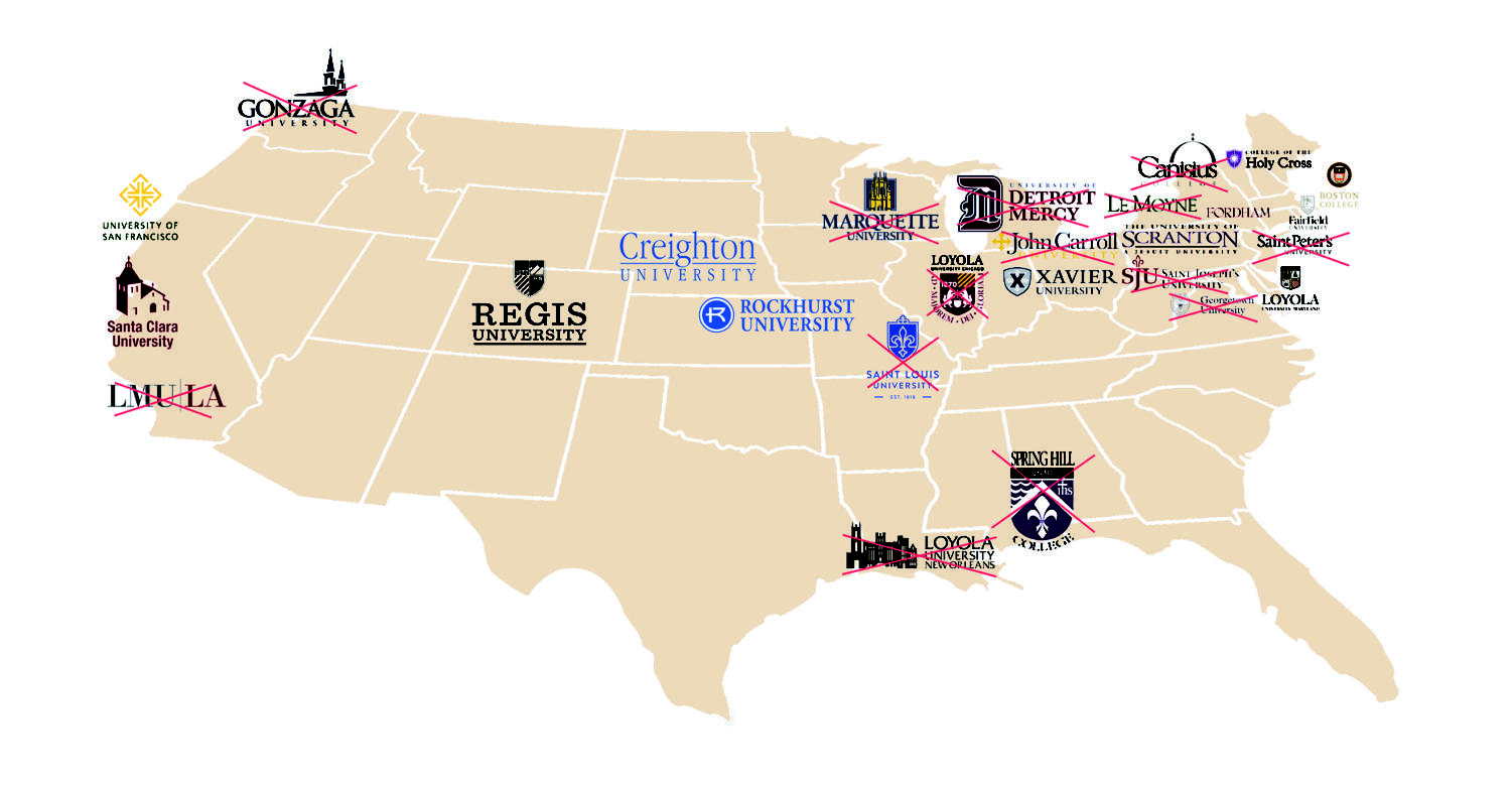 Illustration of all 28 Jesuit universities in the U.S. 15 of the 28 universities no longer have a Jesuit president. Photo credit: Ariel Landry