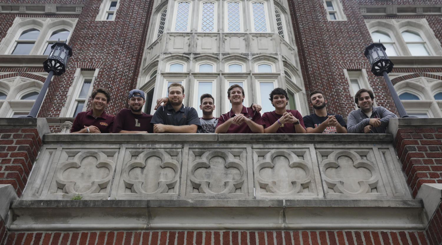 Charlie Seiter, fourth from the right, poses alongside fellow members of the Catholic Men's Fellowship. Seiter is also involved in the Christian Life Communities, a student organization on Loyola that meets to discuss faith and life issues.